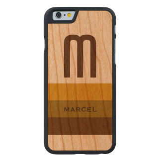 custom name and initial on-wood carved® cherry iPhone 6 case