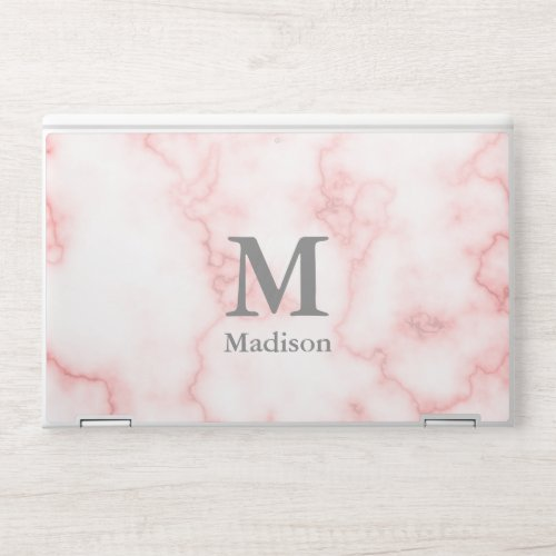 Custom Name and Monogram on Faux Pink Marble HP Laptop Skin