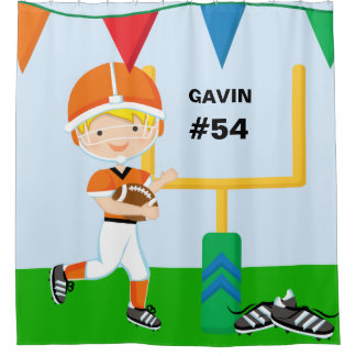Custom Name and Number Orange Football Player Shower Curtain