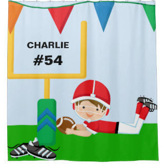 Custom Name and Number Red Football Player Shower Curtain