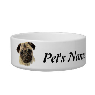 Custom Name and Photo Pug Pet, Dog Cat Water Bowls