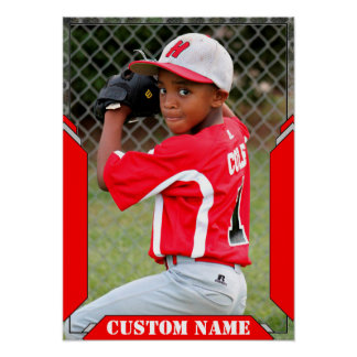 Custom Name and Photo Red Sports Poster