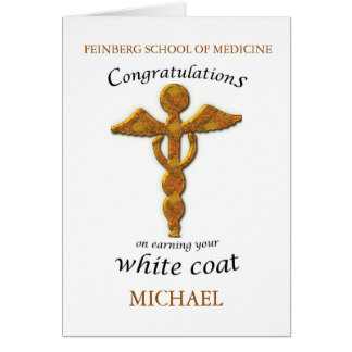 Custom Name and School White Coat Ceremony Medical Card