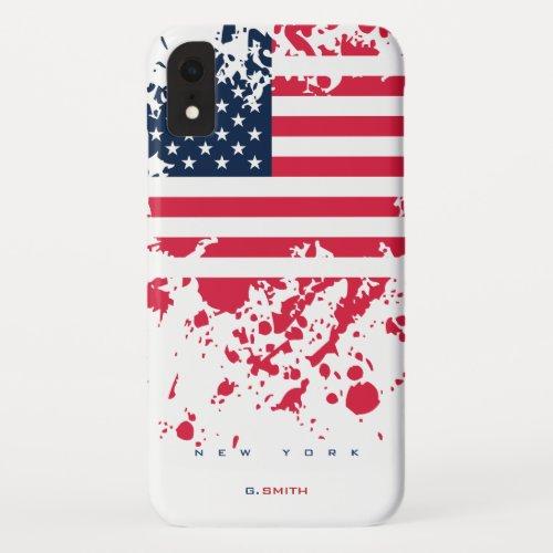 Custom Name and State   Grunge US American Flag Phone Case