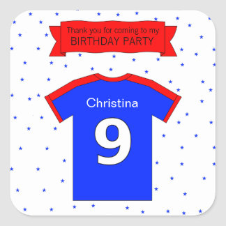 Custom name and text 9th birthday party square sticker
