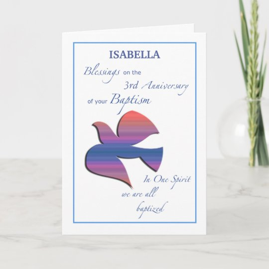 Custom Name And Year Third Anniversary Of Baptism Card