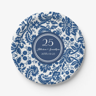 Custom Name Anniversary Plates Navy Blue Damask 7 Inch Paper Plate