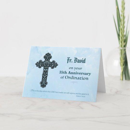 custom name  anniversary year ordination priest card