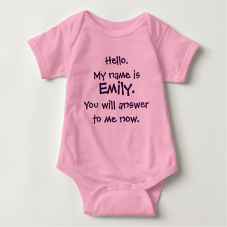 """Custom Name """"Answer To Me""""  Funny Baby Bodysuit"""