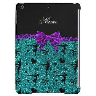 Custom name aqua glitter gymnastics purple bow case for iPad air