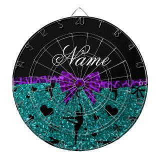 Custom name aqua glitter gymnastics purple bow dartboard with darts