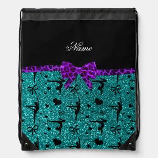 Custom name aqua glitter gymnastics purple bow drawstring backpack