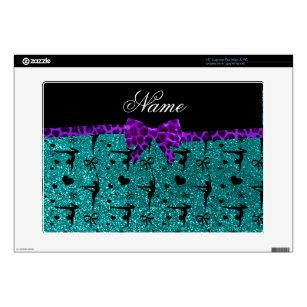 Custom name aqua glitter gymnastics purple bow laptop skins