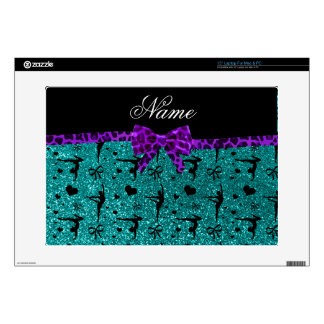 Custom name aqua glitter gymnastics purple bow laptop skins