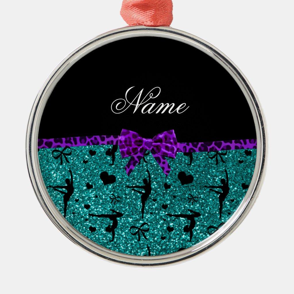Custom name aqua glitter gymnastics purple bow Christmas