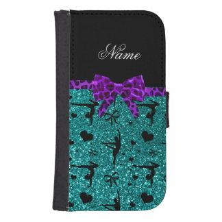 Custom name aqua glitter gymnastics purple bow samsung s4 wallet case