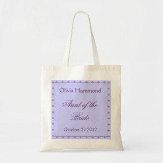 CUSTOM NAME - Aunt of the Bride Wedding Bag PURPLE