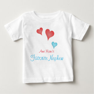 Custom Name Aunt's Favorite Nephew Red/Blue Hearts Baby T-Shirt
