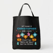 Custom Name Autism Halloween Candy Tote Bag
