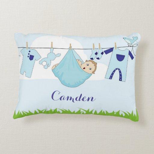 "Custom Name ""Baby boy clothes line"" pillow"