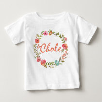 Custom Name Baby Girl Watercolor Floral Wreath-8 Baby T-Shirt