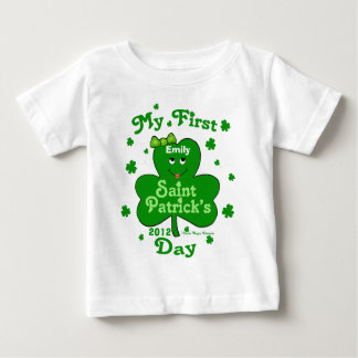 Custom Name Baby Girl's First St. Patrick's Day Baby T-Shirt