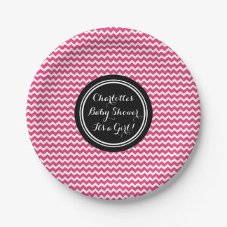 Custom Name Baby Shower Plates Black Pink Chevron