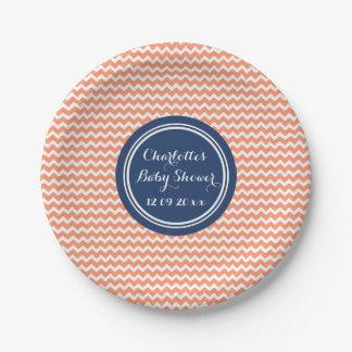 Custom Name Baby Shower Plates Coral Blue Chevron