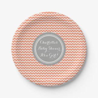 Custom Name Baby Shower Plates Coral Grey Chevron