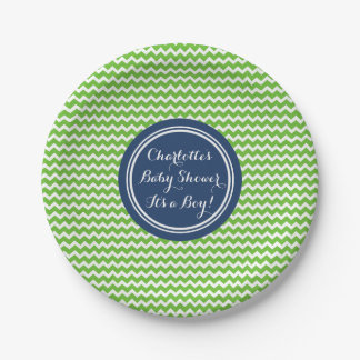 Custom Name Baby Shower Plates Green Blue Chevron