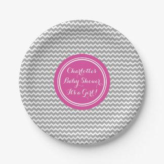 Custom Name Baby Shower Plates Grey Pink Chevron