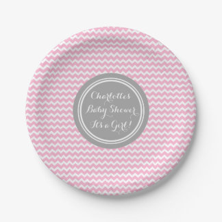 Custom Name Baby Shower Plates Grey Pink Chevron 7 Inch Paper Plate