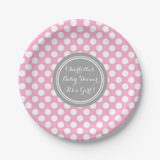 Custom Name Baby Shower Plates Grey Pink Dots