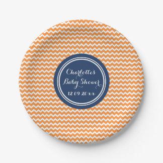 Custom Name Baby Shower Plates Orange Blue Chevron