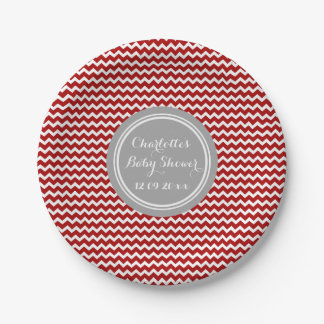 Custom Name Baby Shower Plates Red Grey Chevron