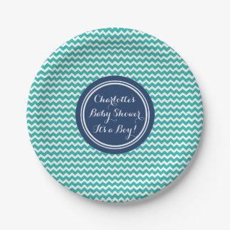Custom Name Baby Shower Plates Teal Blue Chevron