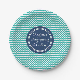 Custom Name Baby Shower Plates Teal Blue Chevron 7 Inch Paper Plate