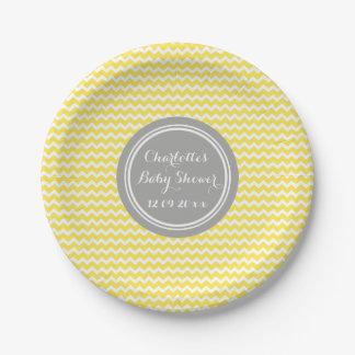Custom Name Baby Shower Plates Yellow Grey Chevron
