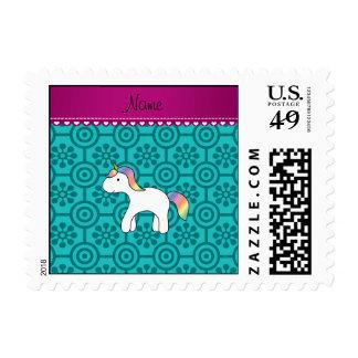 Custom name baby unicorn turquoise retro flowers postage