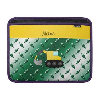 Custom name backhoe green diamond steel plate MacBook sleeve