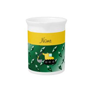 Custom name backhoe green diamond steel plate beverage pitchers