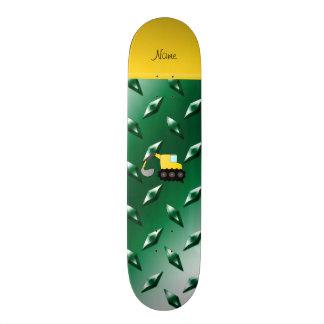 Custom name backhoe green diamond steel plate skate decks