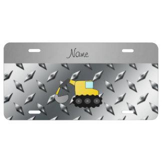 Custom name backhoe silver diamond steel plate