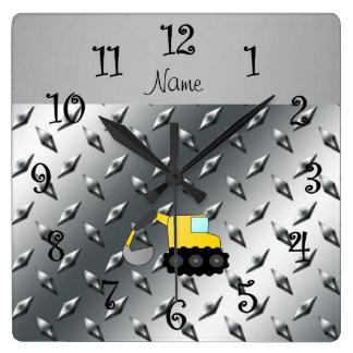 Custom name backhoe silver diamond steel plate square wall clocks
