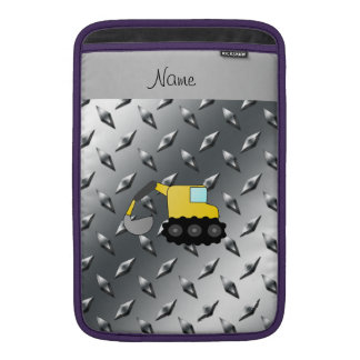 Custom name backhoe silver diamond steel plate MacBook sleeve