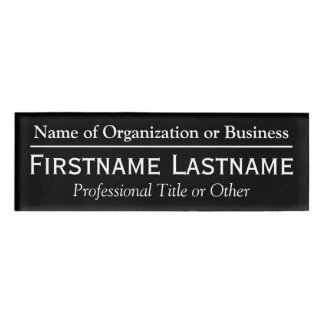 Custom Name Badge - Organization or Church - Black