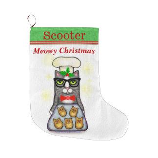 Custom Name Baking Cat Christmas Stocking Large Christmas Stocking