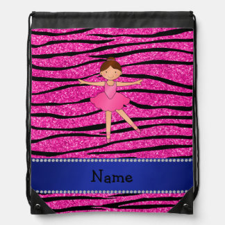 Custom name ballerina pink glitter zebra stripes drawstring bag