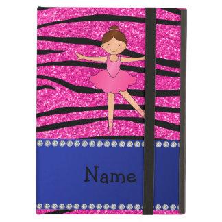 Custom name ballerina pink glitter zebra stripes iPad air cases