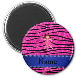 Custom name ballerina pink glitter zebra stripes magnet